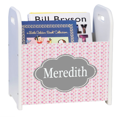 Personalized Pink And Gray White Book Caddy And Rack