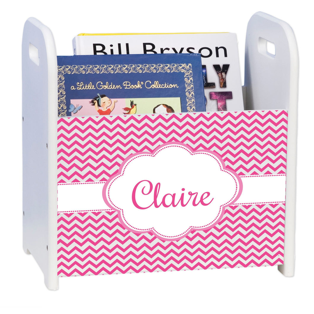 Personalized Hot Pink Chevron White Book Caddy And Rack