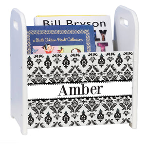 Personalized Black And White Damask White Book Caddy And Rack