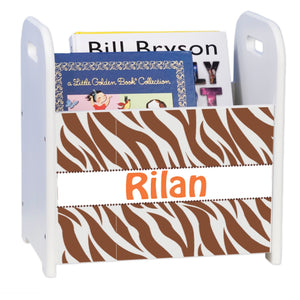 Personalized Outback Brown White Book Caddy And Rack