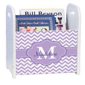 Personalized Lavender Chevron Purple White Book Caddy