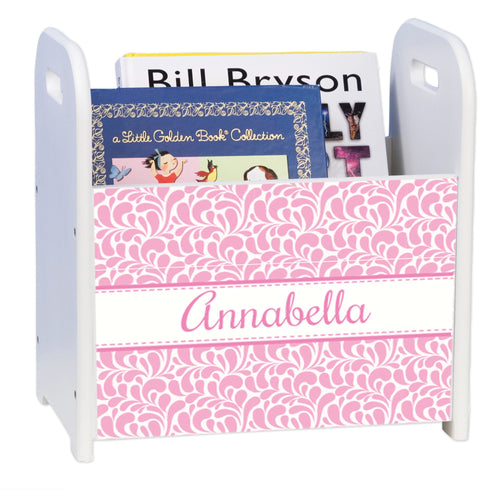 Personalized Pink Dancing Drops White Book Caddy And Rack