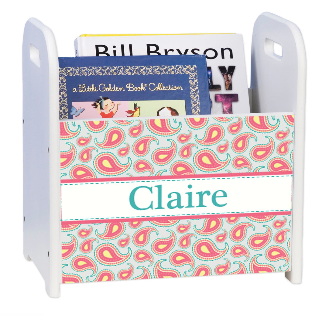 Personalized Paisley Aqua Coral White Book Caddy And Rack