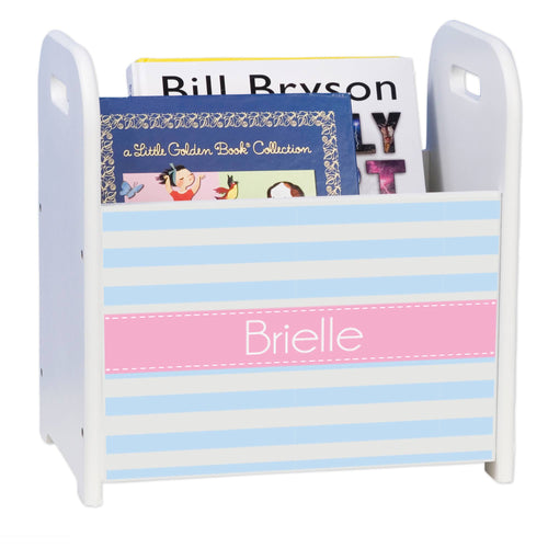 Personalized Pale Blue Stripe W White Book Caddy And Rack