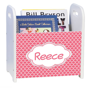 Personalized Moroccan Salmon White Book Caddy And Rack