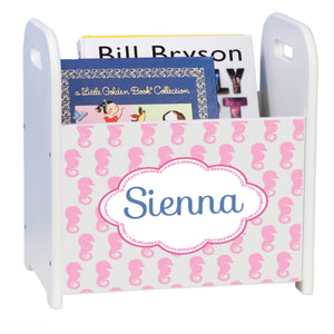 Personalized Pink Seahorse White Book Caddy And Rack