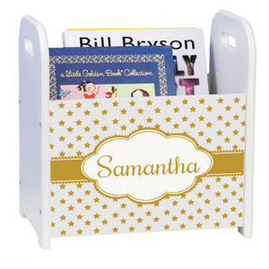 Personalized Gold Stars White Book Caddy And Rack