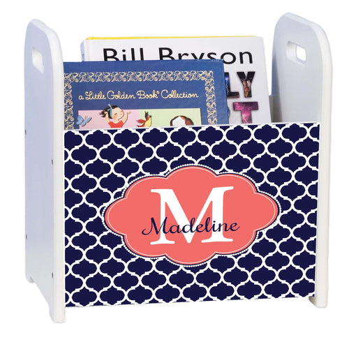 Personalized Navy Moroccan Coral White Book Caddy And Rack