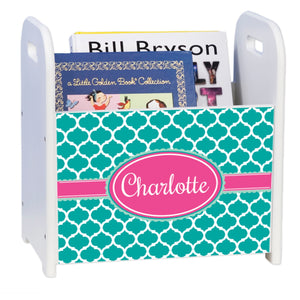 Personalized Teal Moroccan Hot Pink White Book Caddy And Rack