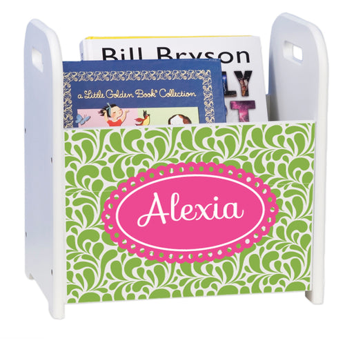 Personalized Palm Beach White Book Caddy And Rack
