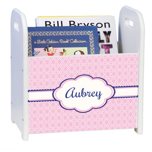 Personalized Pink Quatrefoil W Navy White Book Caddy And Rack