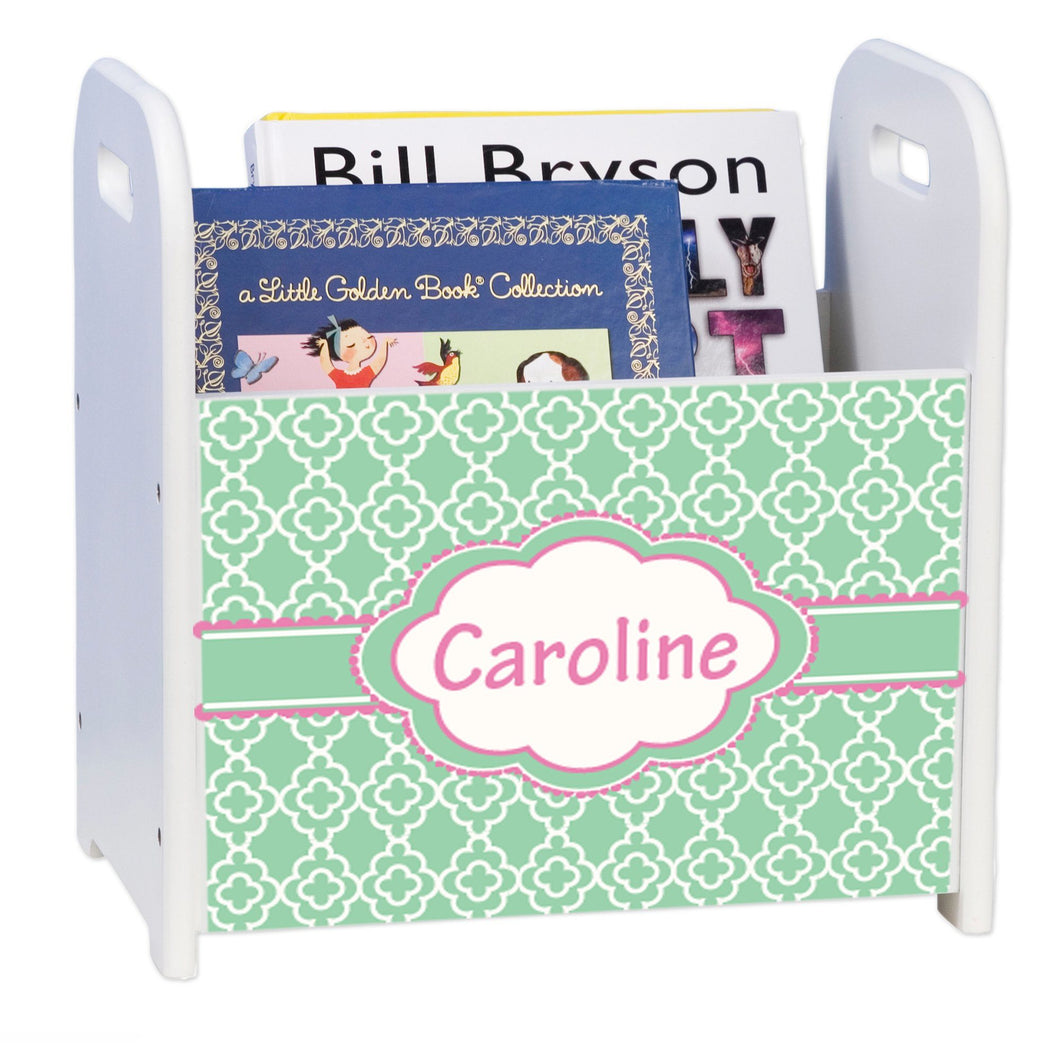 Personalized Mint Quatrefoil W Pink White Book Caddy And Rack