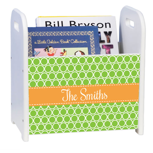Personalized Rings Green With Gold White Book Caddy And Rack
