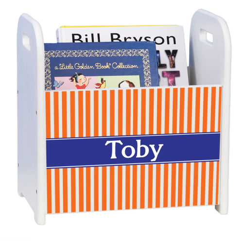 Personalized Orange Stripes With Blue White Book Caddy And Rack