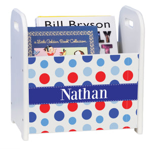 Personalized Dots Blues And Reds White Book Caddy And Rack