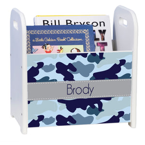 Personalized Blue Camo White Book Caddy And Rack