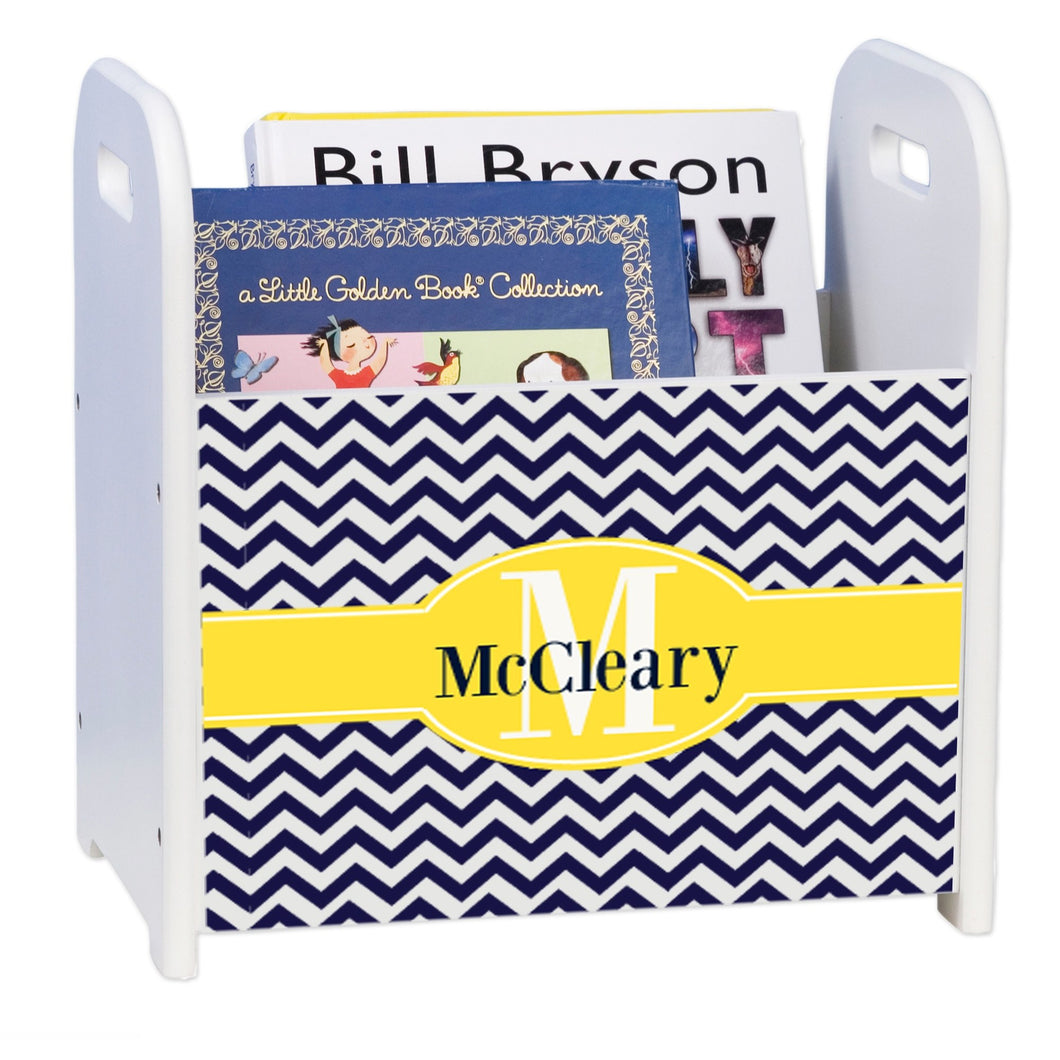 Personalized Navy Chevron W Yellow White Book Caddy And Rack