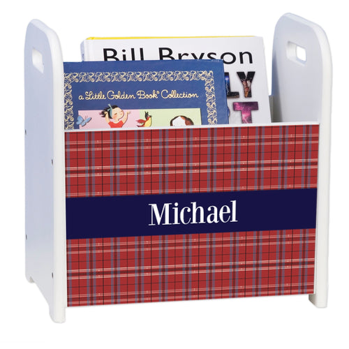 Personalized Red Plaid W Navy White Book Caddy And Rack