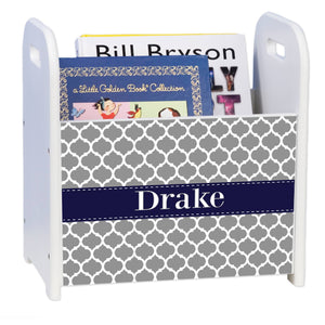 Personalized Gray Moroccan W Navy White Book Caddy And Rack