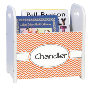 Personalized Orange Chevron White Book Caddy And Rack