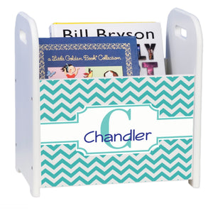 Personalized Teal Chevron White Book Caddy And Rack