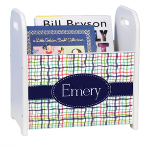 Personalized Preppy Plaid White Book Caddy And Rack