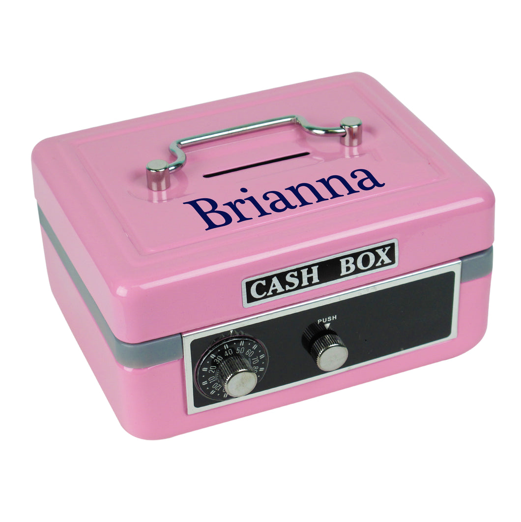 Girls pink cash box with name