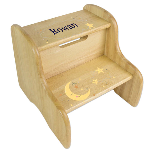 Personalized Celestial Moon Natural Two Step Stool