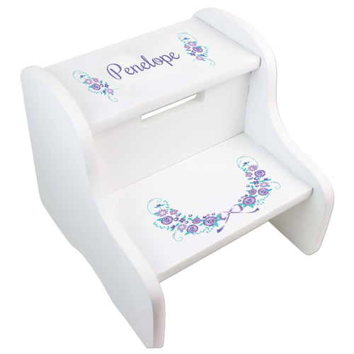 Lavender Floral Garland White Two Step Stool