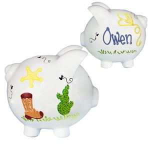 Hand Painted personalized cowboy Piggy Bank