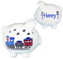 Hand Painted Piggy Bank with Train design