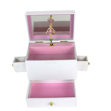 Pink Gray Butterfly Deluxe Musical Ballerina Jewelry Box
