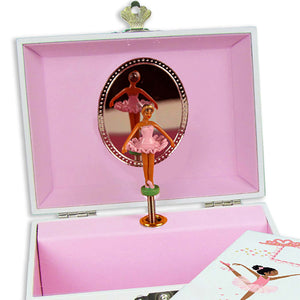 Lt Gray Circle Dot Musical Ballerina Jewelry Box