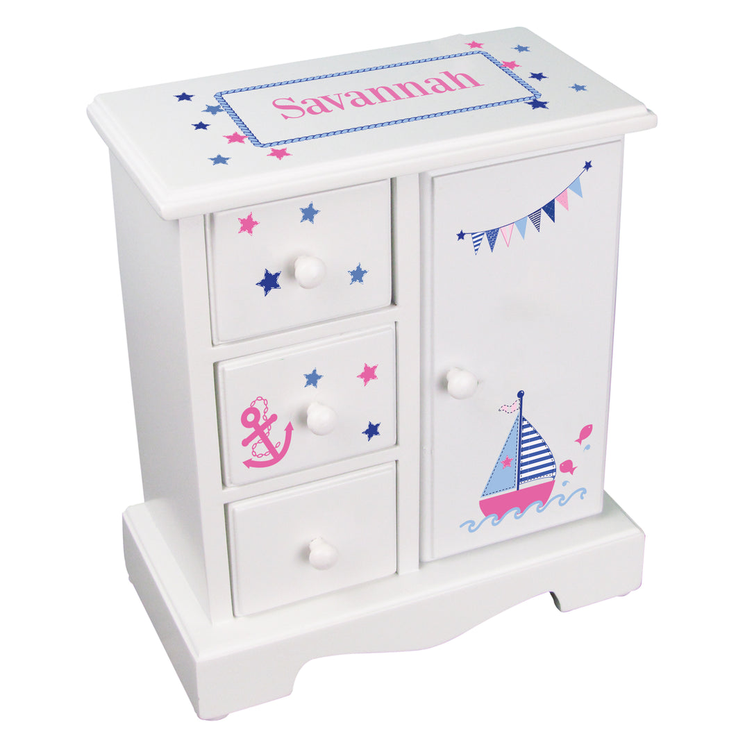 personalized girls sailboat jewelry armoire