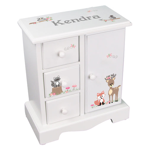 Personalized Jewelry Armoire with Gray Woodland Critters design