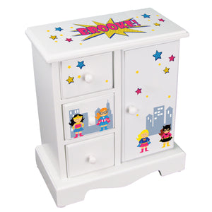 Personalized Jewelry Armoire girls Super hero design