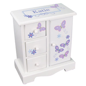 personalized butterflies flower jewelry armoire