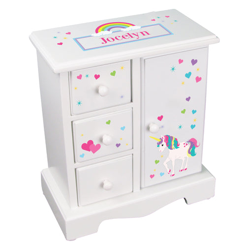 girls personalized unicorn jewelry armoire