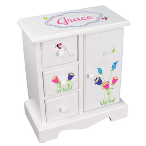 girls personalized english garden jewelry armoire