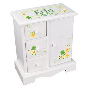 Personalized Jewelry Armoire with irish shamrock design