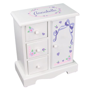 Personalized Jewelry Armoire with Pink Bow design