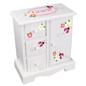 personalized pink ladybug jewelry box armoire