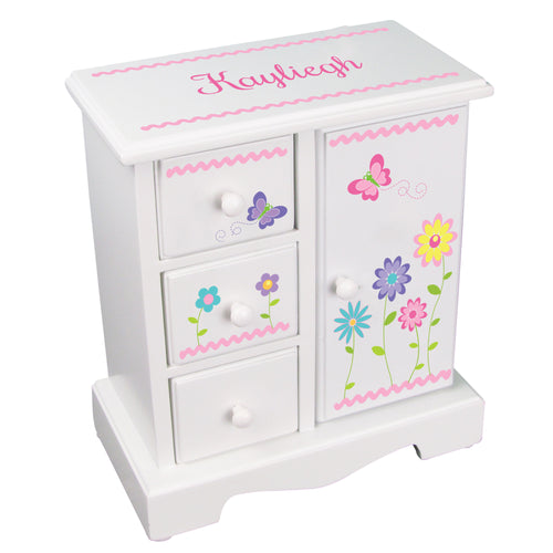 personalized stemmed flower jewelry armoire