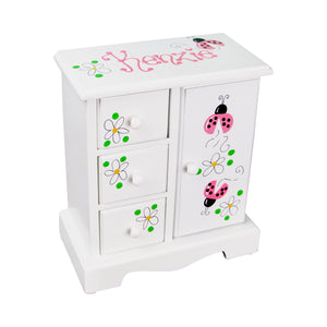 Hand Painted Girls Jewelry Chest Box