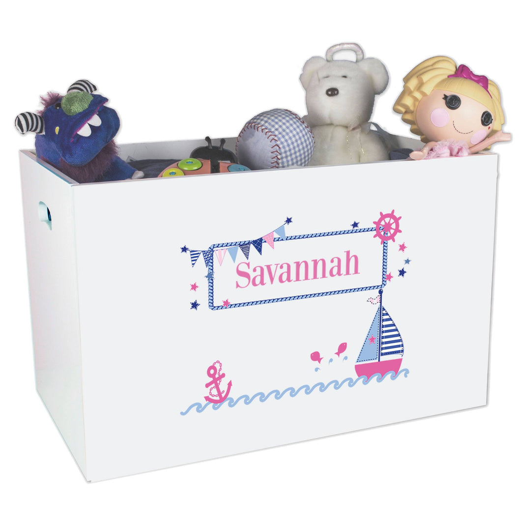 Open White Toy Box Bench with Pink Sailboat design