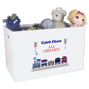 Boys Personalized TrainToy Bin box for train storage