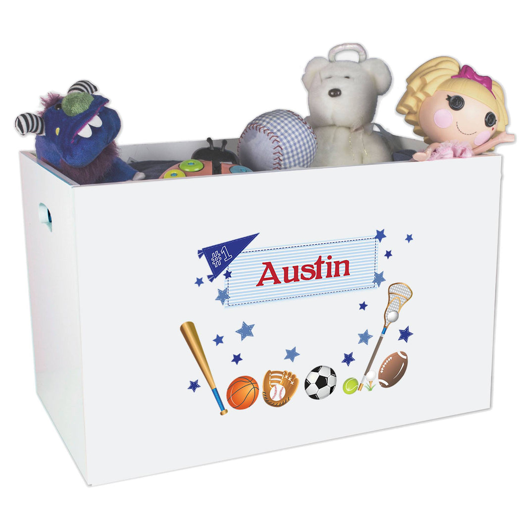 Open White Toy Box Bench with Sports design