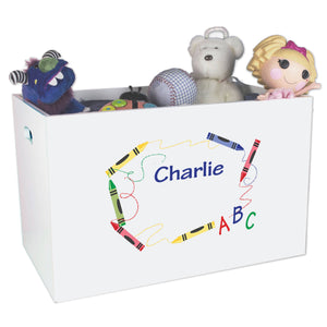 Open White Toy Box Bench with Crayon design