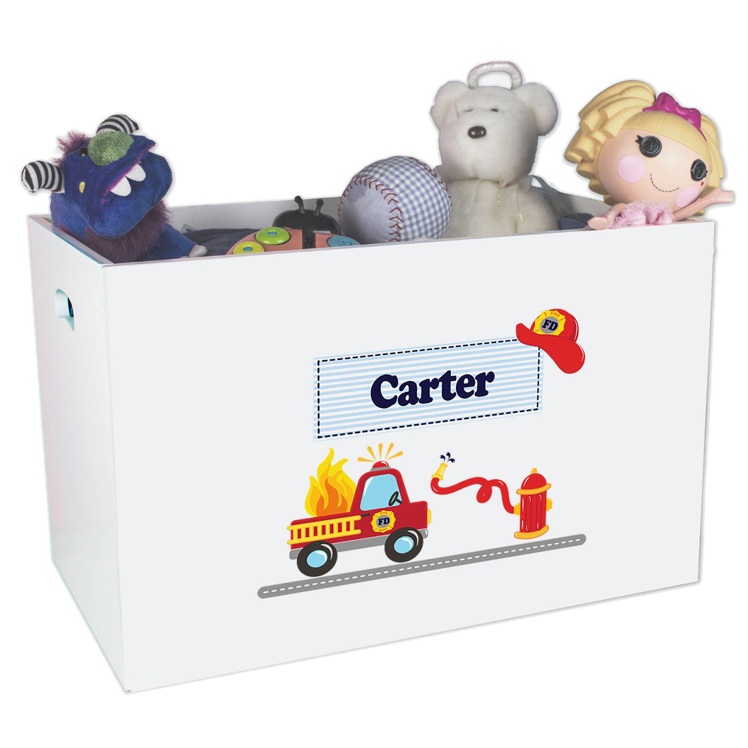 Open White Toy Box Bench with Fire Truck design