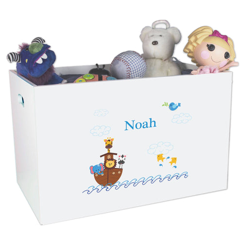 Open White Toy Box Bench with Noahs Ark design